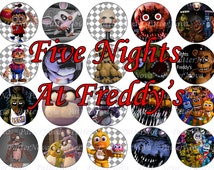 """20pcs 2"""" Five Nights At Freddys - circles images, cupcake topper, digital FNAF, stickers, labels, icons/ Instant Download / JPG, PDF / Chica"""