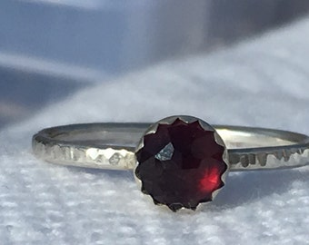 Garnet & Sterling Stacking Ring
