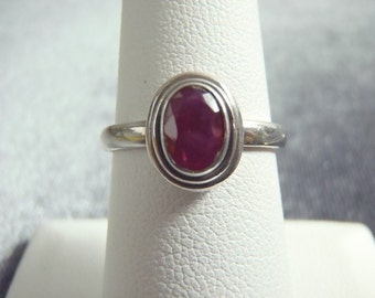 Sterling Silver Dainty Oval Ruby Ring RR11