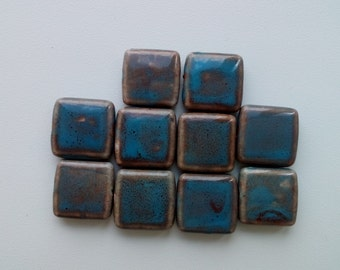 Vintage blue flat square China ceramic porcelain Beads