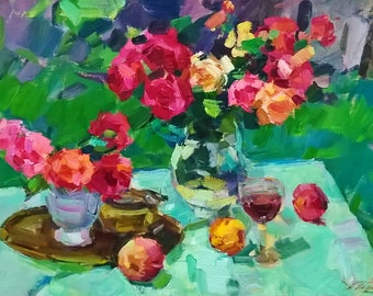 Oil painting Still Life painting Flowers Impressionist painting Fruit art Flower Painting Floral Painting Red Rose painting Kitchen wall art