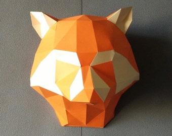 Raccoon DIY KIT/ Room Decor/ Paper Craft/ Wall Decor/ Paper Animal Head/ DIY Paper Craft/ Paper Racoon/ Racoon Head/ Origami