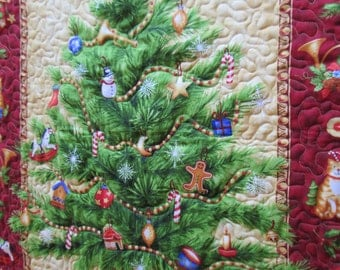 """Christmas Quilt Christmas Wall Hanging Quilt Xmas Quilt Christmas Tree Quilted Wall Hanging Christmas Table Topper - 30"""" x 40"""""""