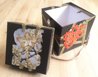 Handmade gift box - gift box with fairy and flowers