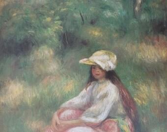 Renoir print - Jeune fille en rose dans un paysage - vintage museum poster - offset lithograph
