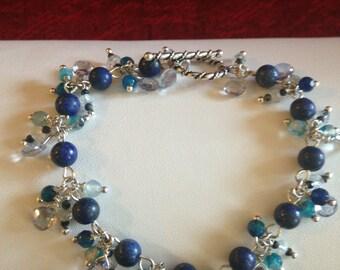 Lapis, Blue Agate, Mystic Blue Quartz and Sterling Silver Bracelet