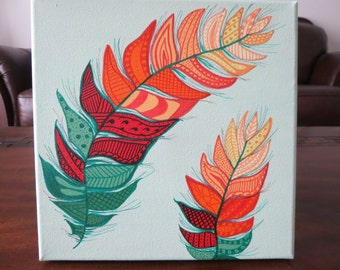 "10"" x 10"" Zentangle Feather Painting"