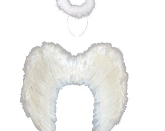 Large white angel real feather Wings and Halo - Halloween, fancy dress costume, dressing up