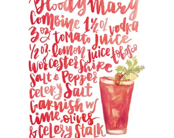 Handlettered Bloody Mary Recipe