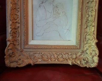 Gilded Framed Mother and Child Illustrated Portrait