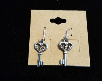 Silver skeleton key earrings