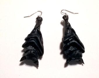 Sleeping Hanging Bat Earrings
