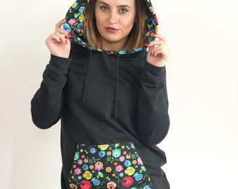 Women's Hoodies with folk inspired flowers by PLishka