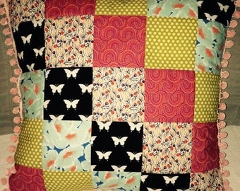 Quilted Multi-Patterned Pillow