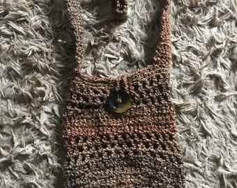 Handmade crocheted barley colored market bag