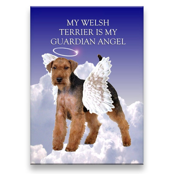 Welsh Terrier Guardian Angel Fridge Magnet