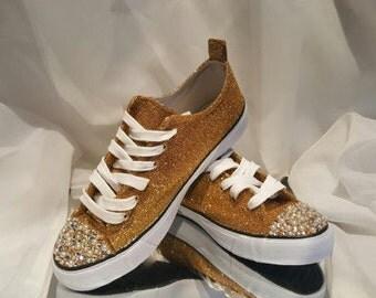 Custom Womens Converse Gold Glitter, Rhinestone, Pearl Wedding Converse Sneakers Swarovski Crystal, Bridal Bling Shoes, Converse All Star