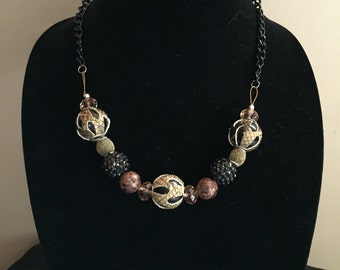 Taupe & Black Leather Bead Necklace