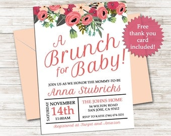 Brunch for Baby Shower Invitation Invite 5x7 Digital Personalized Sprinkle Girl