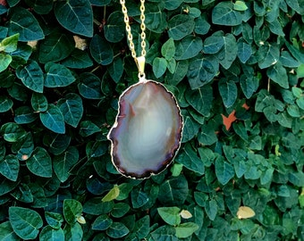 Brown Agate Pendant Necklace