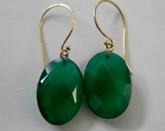 14k Solid Gold Green Onyx Earrings