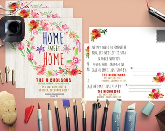 Sweetly Blooming Moving Announcements Card Template