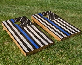 Police Blue Stripe American Flag Cornhole Board Set