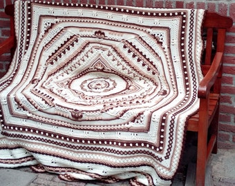 Brown/cream bank blanket 180x140 cm