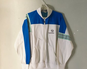 Sergio Tacchini Wilander Vintage 80's Track Top in White, Royal & Green