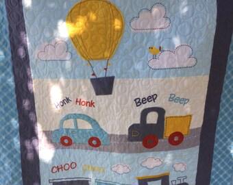 Choo Choo Beep Beep baby boy quilt