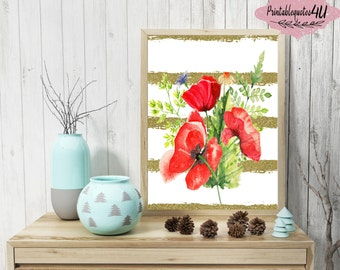 Red Poppies Wall Art, Watercolor Poppies, Poppy paint art, Floral printable, Floral print, Floral art print, Flower printable, Poppy Print