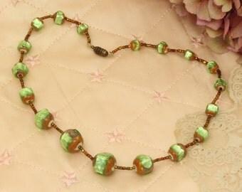 Vintage foil glass bead necklace.