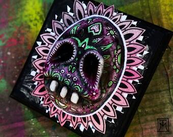 Day of the Dead Colorful Skull, Dia de los Muertos Gothic Painted Sugar Skull Wall Art, Original Painted Sculpture