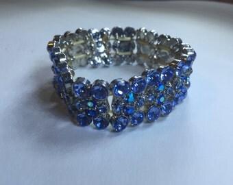 Blue Costumed Jeweled Vintage Bracelet