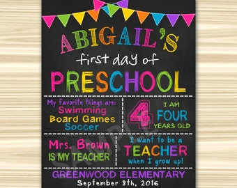 First Day Of School Sign Printable. First Day Of  Preschool Sign Printable. First Day Of Kindergarten Sign. Graduation Chalkboard Sign.