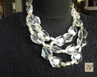 A multi strand necklace for women, sophisticated, large glass beads, transparent and faceted, silver finish beads, chic gift