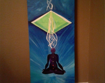 Namaste/Reiki painting/Spiritual art/ yoga art/ Chakra paint/ Healing blue and green colored art/ glow in the dark painting