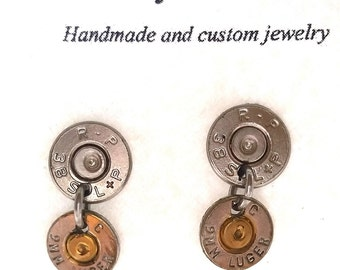Bullet Jewelry- 38SP/9mm Nickel Bullet Dangling Earrings