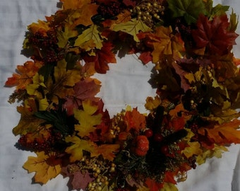 "18"" fall wreath, yellows & oranges, leaves"