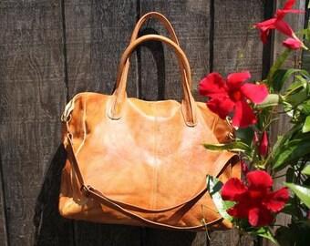 Large Handmade Leather Handbag, Italian Handbag, Large Leather Tote, Large Leather Shoulder Bag, Soft Leather Handbag