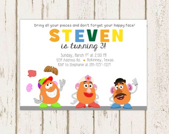 Potato Head Birthday Party Printable Invitations, Digital Party Invitations, Toy Story Party