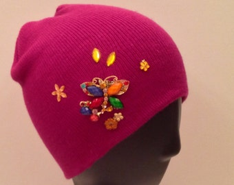 Dark pink bedazzled/decorated beanie