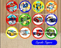Rescue Bots toppers, Transformers Rescue Bots Cupcakes Toppers instant download, Printable Rescue Bots party Topper