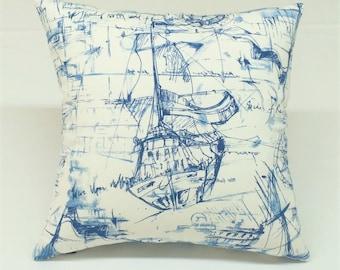 Navy blue & white nautical ship print designer decorative pillow toss pillow throw pillow cover