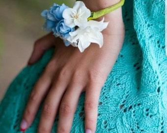 flower bracelet, bride bracelet, gift for her, blue bracelet, bridesmaids, bride accessories, blue corsage, wedding bracelet, blue white