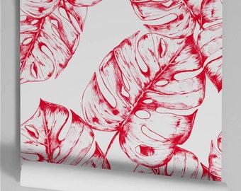 Monstera red wallpaper