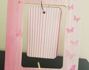 Pink Picture Frame with Butterflies, Picture Frame