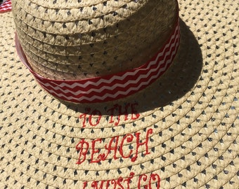 Womens Big Floppy Straw Sun Hat for the Beach or Pool in the Summer,  Embroidered