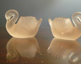 Two Pink Satin Glass Master Salt Swans