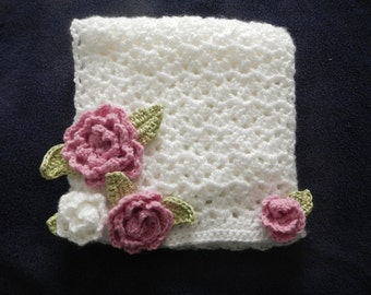 White Crocheted Scarf with Roses